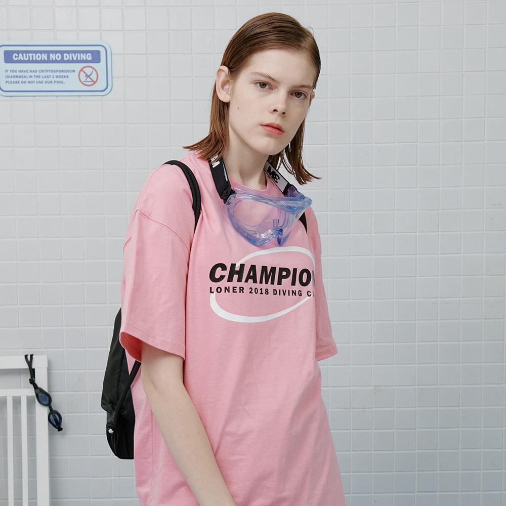 [로너] Circle diver tshirt-pink