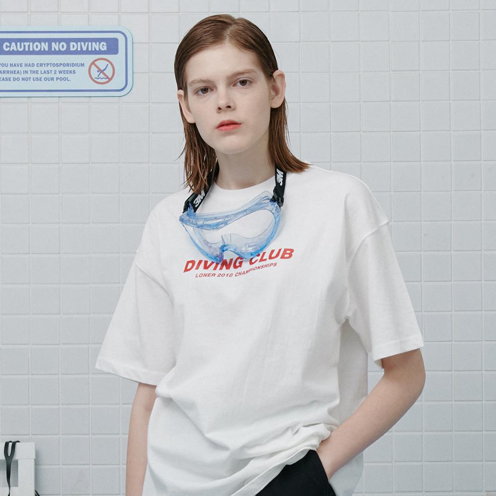 [로너] Diving club tshirt-white