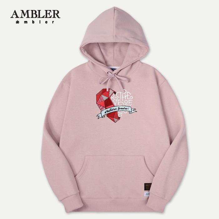 [엠블러]AMBLER 신상 자수 후드티 AHP401-다크핑크