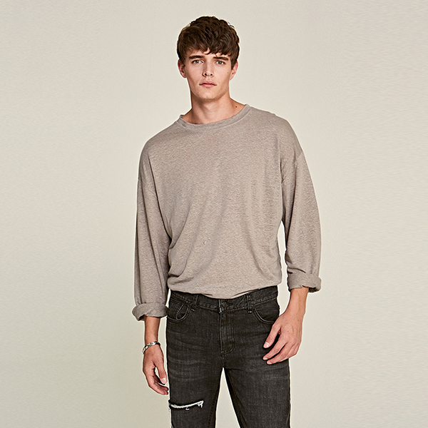 [DEANS] BOAT-NECK LONG T-SHIRTS_GRAY