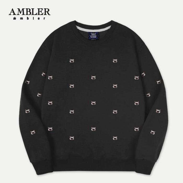 [엠블러]AMBLER 신상 자수 프린팅 맨투맨 티셔츠 AMM506-블랙