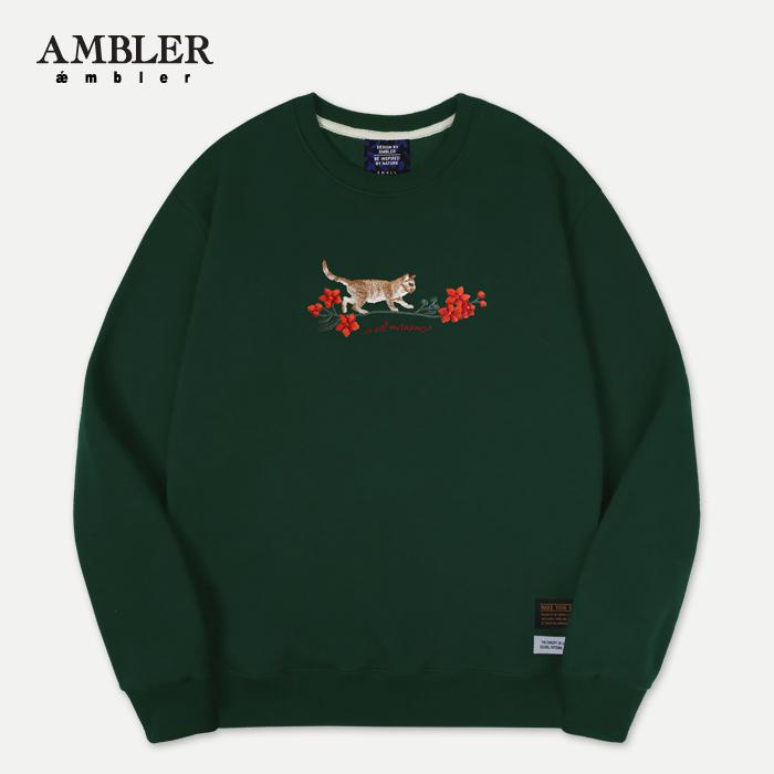 [엠블러]AMBLER 신상 자수 프린팅 맨투맨 티셔츠 AMM522-카키