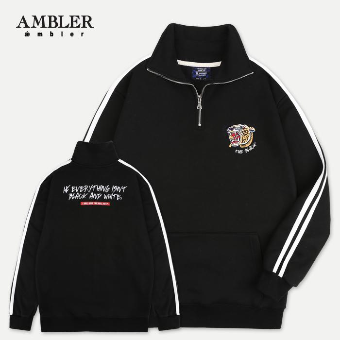[엠블러]AMBLER 신상 자수 하프집업 아노락 ANO101-블랙