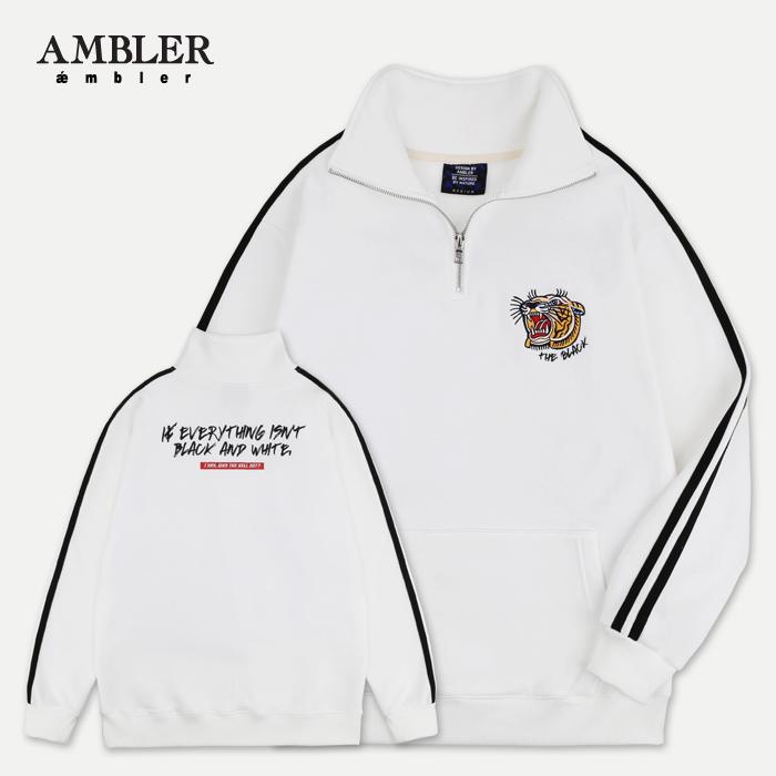 [엠블러]AMBLER 신상 자수 하프집업 오버핏 아노락 ANO101-화이트