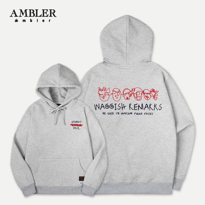 [엠블러]AMBLER 신상 자수 후드티 AHP503-멜란지