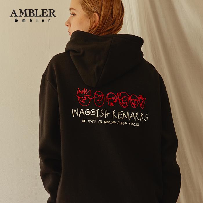 [엠블러]AMBLER 신상 자수 후드티 AHP503-블랙