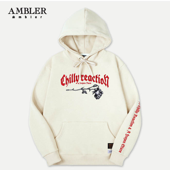 [엠블러]AMBLER 신상 자수 후드티 AHP506-아이보리