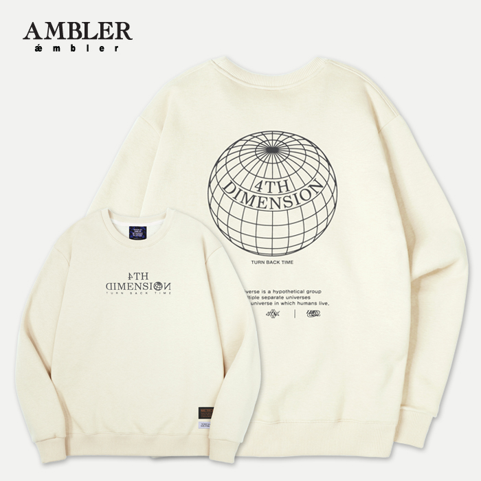 [엠블러]AMBLER 신상 자수 프린팅 맨투맨 티셔츠 AMM601-아이보리