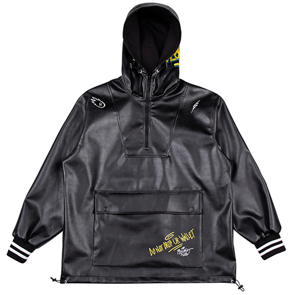 SEOUL artificial leather anorak black
