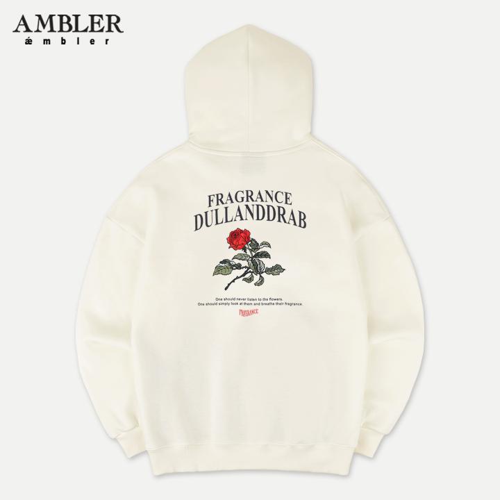 [엠블러]AMBLER 신상 자수 오버핏 후드티 AHP603-아이보리 기모
