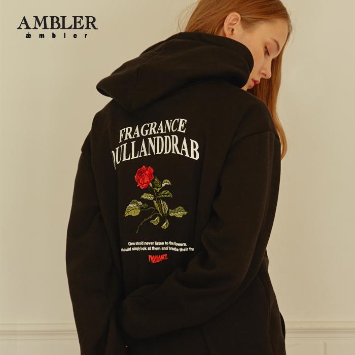 [엠블러]AMBLER 신상 자수 오버핏 후드티 AHP603-블랙 기모