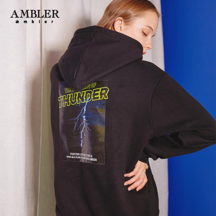 [엠블러]AMBLER 신상 자수 후드티 AHP505-블랙