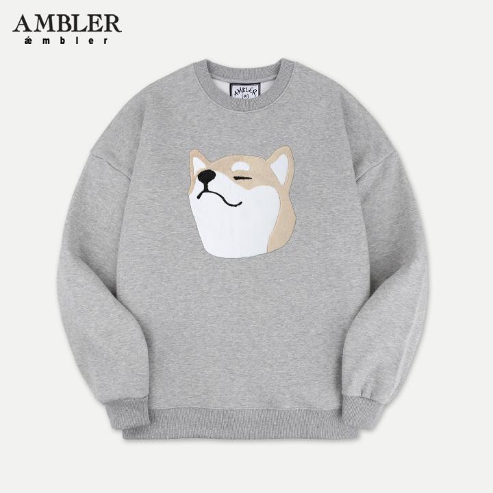 [엠블러][뉴이스트 렌 착용]AMBLER 신상 자수 맨투맨 티셔츠 AMM708-멜란지