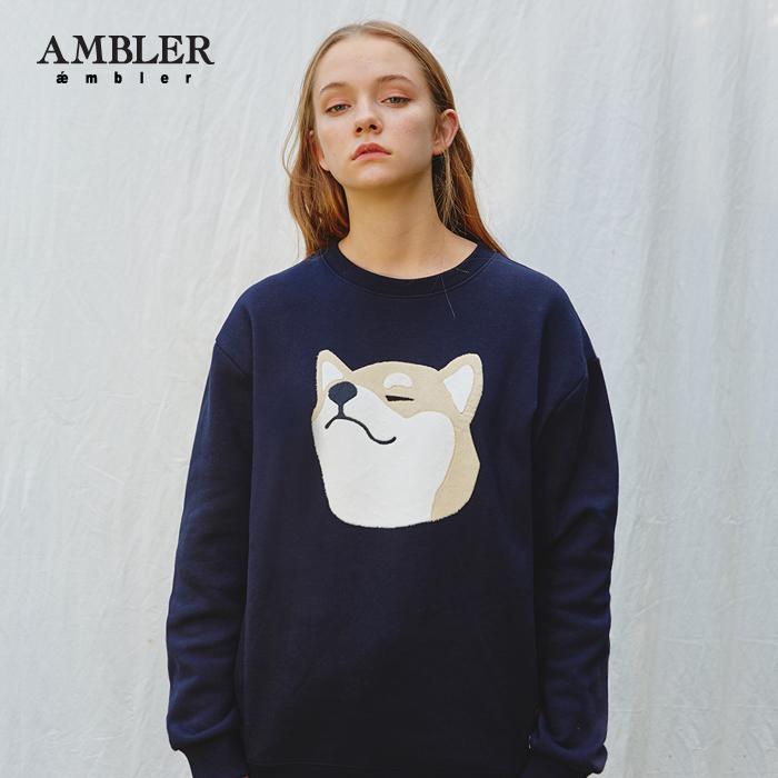 [엠블러][뉴이스트 렌 착용]AMBLER 신상 자수 맨투맨 티셔츠 AMM708-네이비 기모