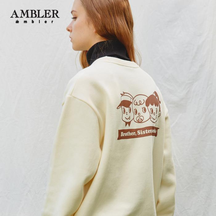 [엠블러]AMBLER 신상 자수 프린팅 맨투맨 티셔츠 AMM605-아이보리