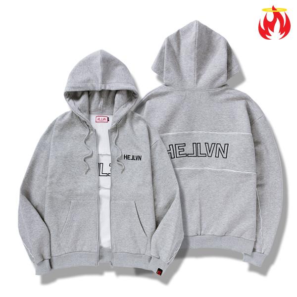 Keyring Piping Zip-Up Hellvn Hoody shirts - Gray - 파이핑후드집업