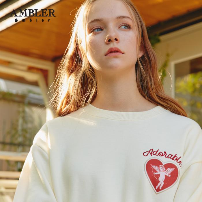 [엠블러]AMBLER 신상 자수 프린팅 맨투맨 티셔츠 AMM606-아이보리