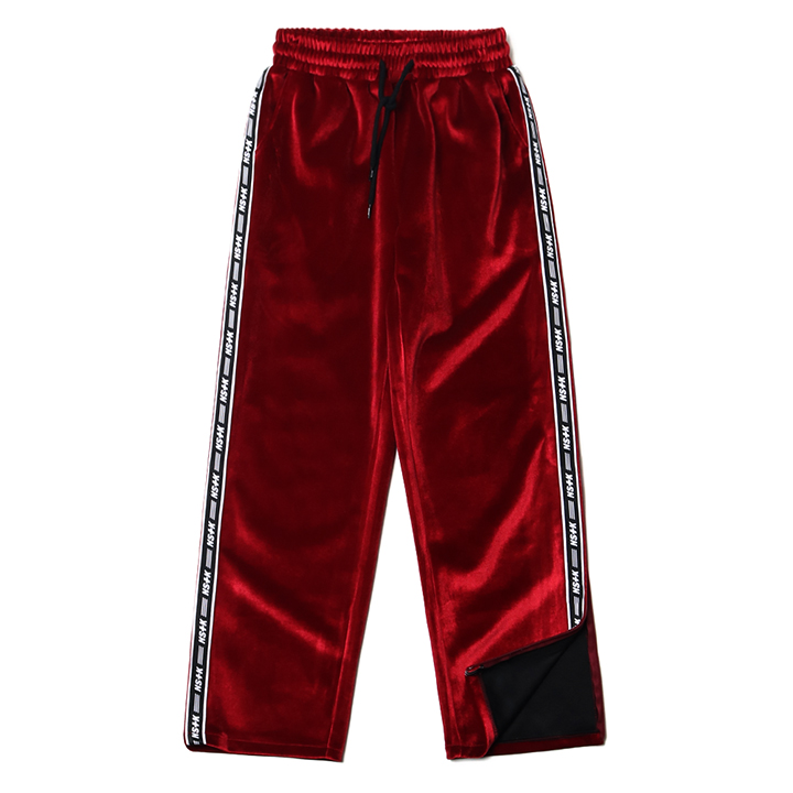 LINE VELVET ZIPPER PANTS BURGUNDY (NF18A020H)