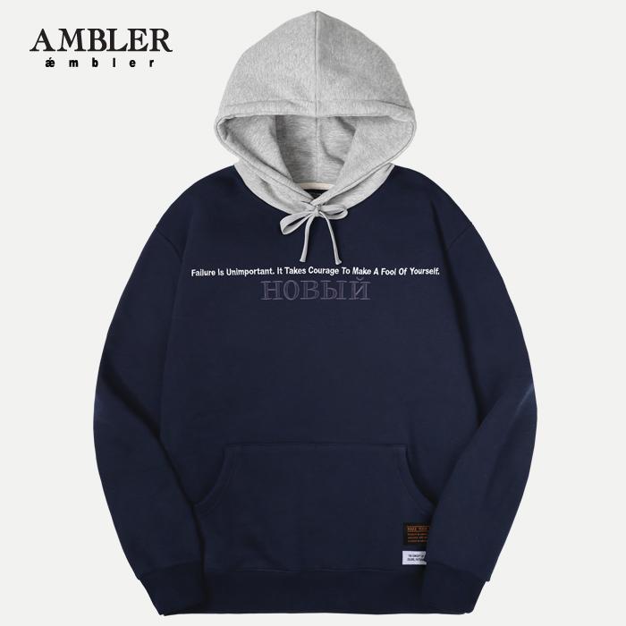[엠블러]AMBLER 신상 자수 후드티 AHP510-네이비