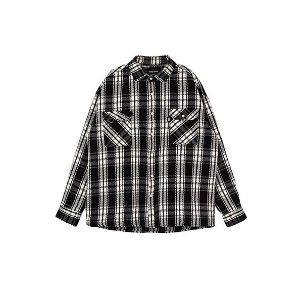 오버 체크 셔츠(검정)