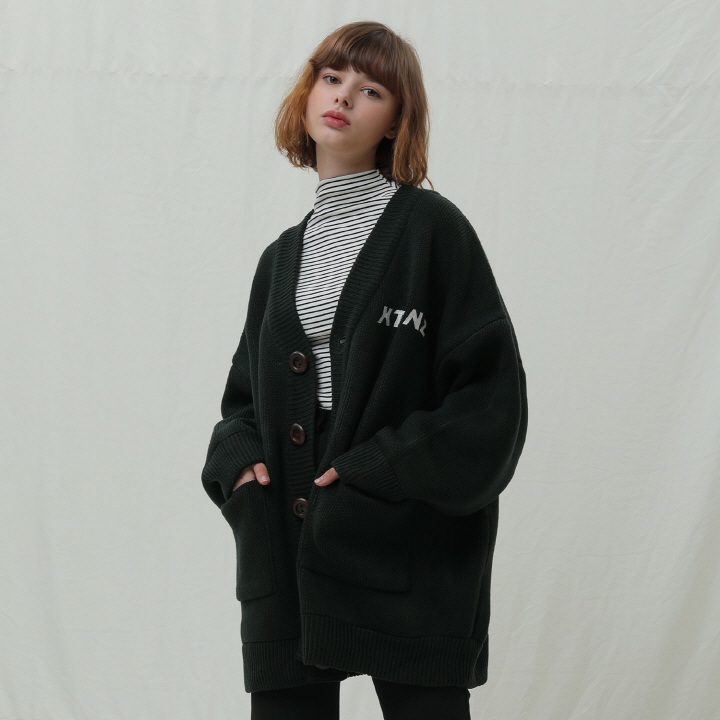 XK1 오버핏 베이직 가디건 (GREEN)