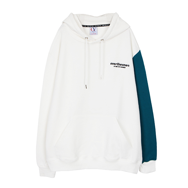 [200]SLEEVE COLOR BLOCKED HOODIE(WHITE)
