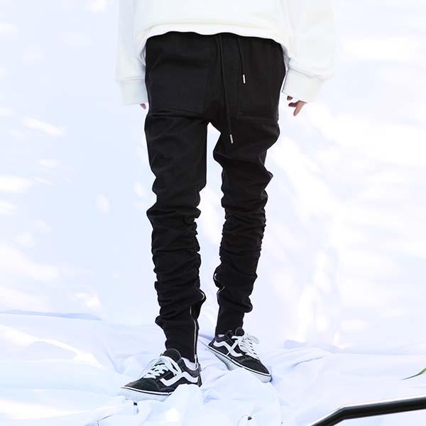 side zip-up joger pants