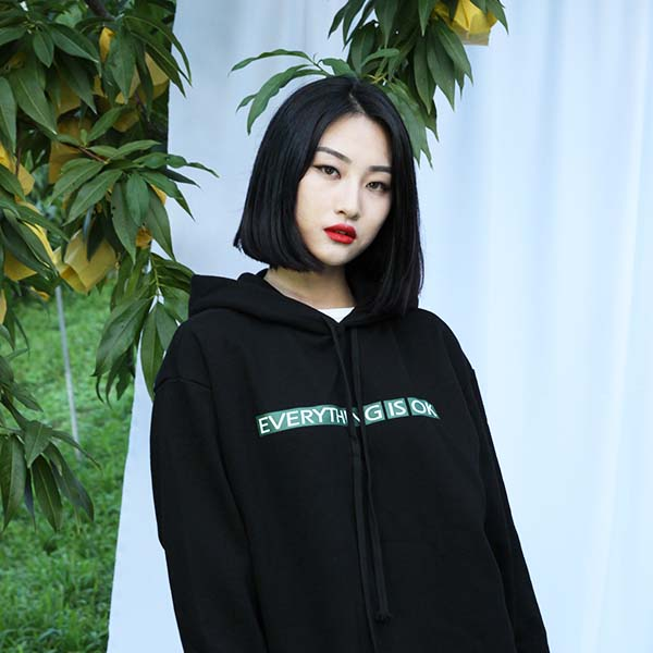 ETIO print forest hood black