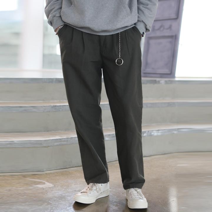 [Unisex]WIDE COTTON PANTS(khaki)
