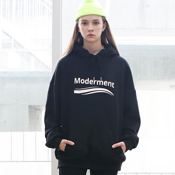 [Unisex]MODERN WAVE HOODIE(black)