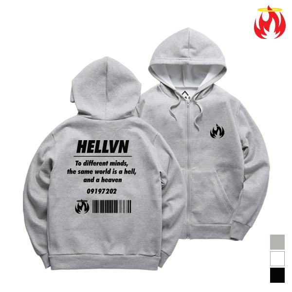 [크루비단독]Different Mind Zip-Up Hellvn Hoody shirts - 후드집업 <SBJH8S-027>