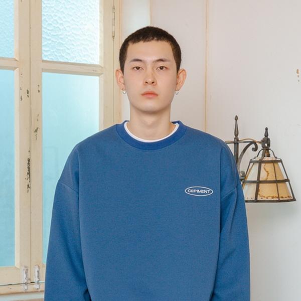 [단독할인][세피먼트] 세피먼트 로고 크루넥 블루