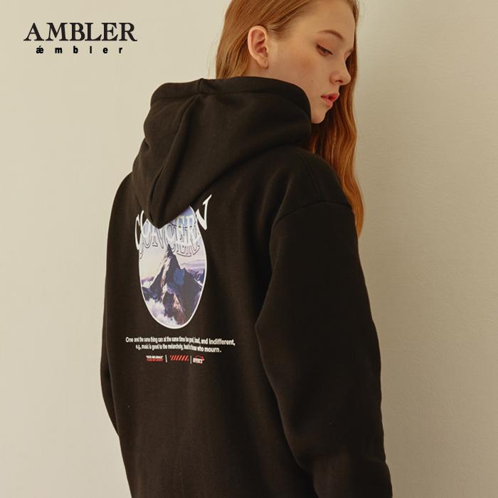[엠블러]AMBLER 신상 자수 후드티 AHP511-블랙