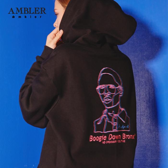 [엠블러]AMBLER 신상 자수 후드티 AHP512-블랙