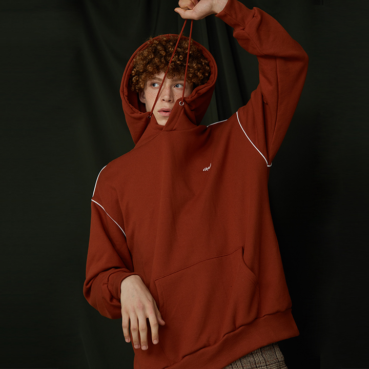 ANDY PIPING HOODIE / BROWN