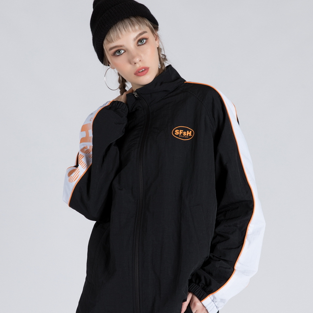 WIND BREAK TRACK JUMPER (SAF3TR01) (BLACK)