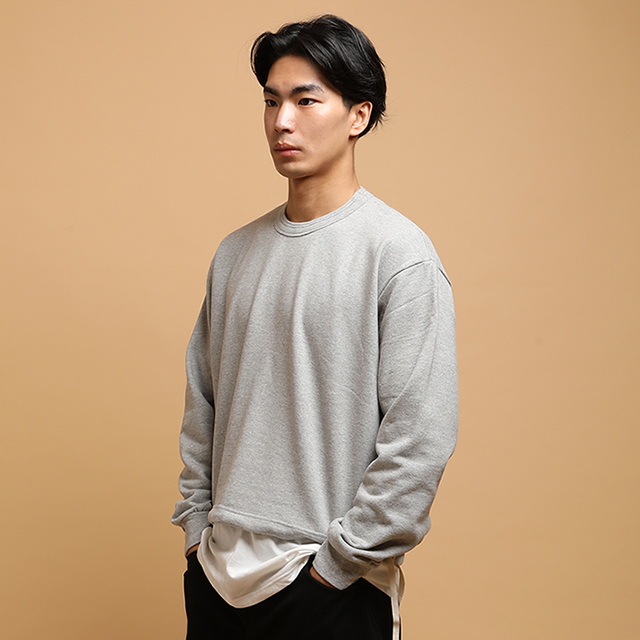 [단독할인][자토] 더블립 크롭 유니섹스 맨투맨 - gray