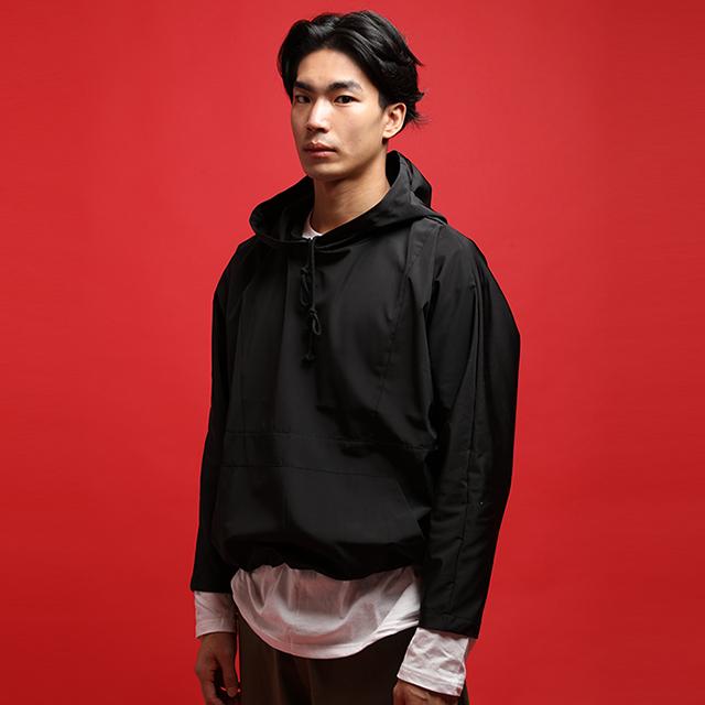 [단독할인][자토] 윈드브레이커 오버핏 후드 - black