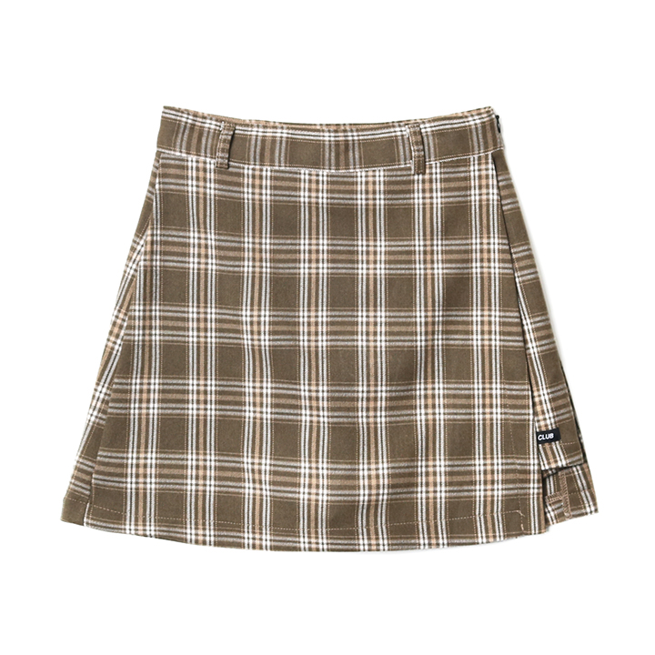 FANCY CHECK WRAP SKIRT BEIGE (NF18A080H)