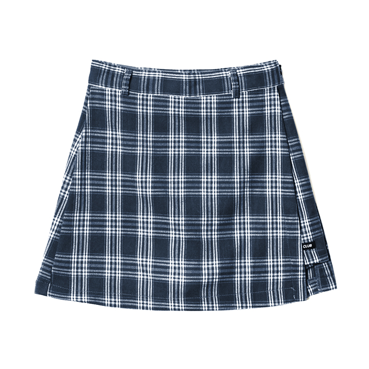 FANCY CHECK WRAP SKIRT NAVY (NF18A080H)