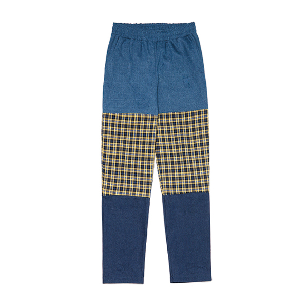 [088]CHECK BLOCK DENIM PANTS(YELLOW)