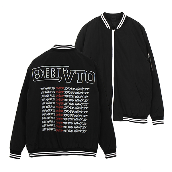 [082]BACK LETTERING BOMBER JACKET(BLACK)