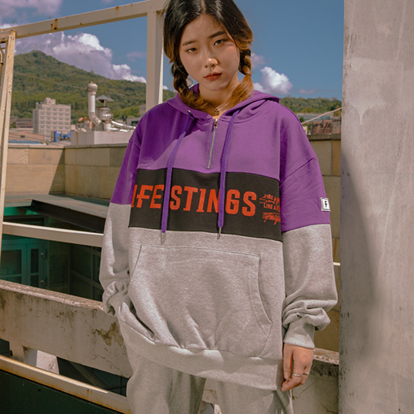 LIFE STINGS 후드 집업 purple+black+m/g
