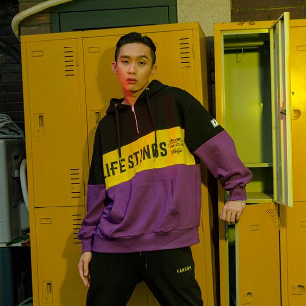 LIFE STINGS 후드 집업 black+yellow+purple