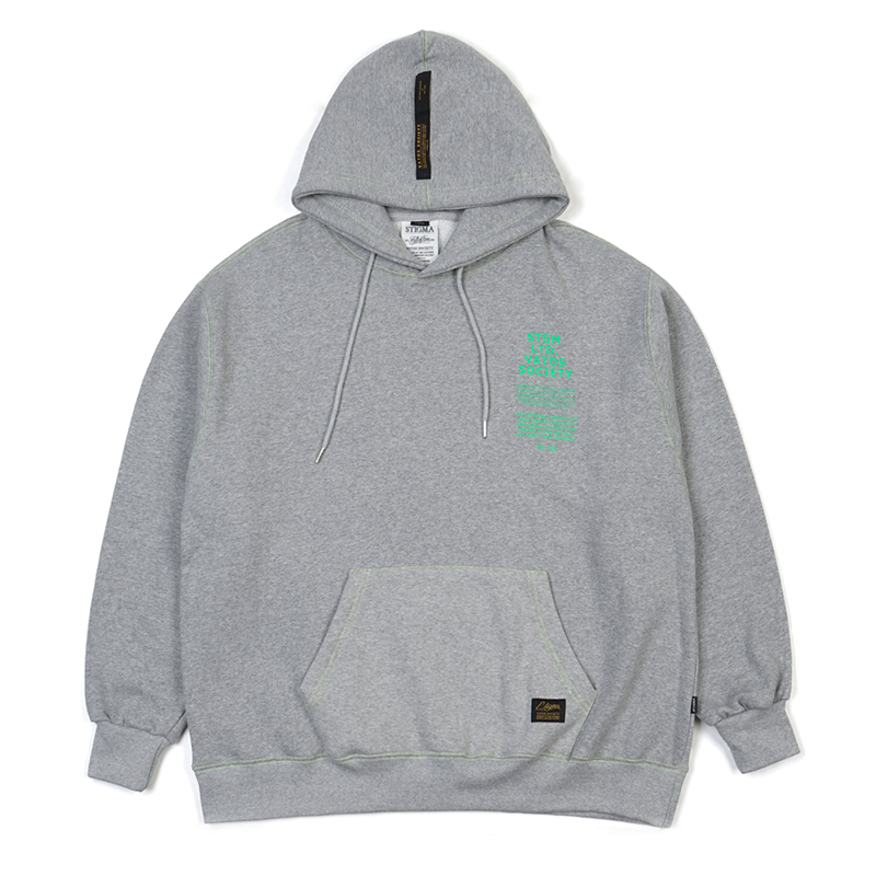 STIGMA STITCH OVERSIZED HEAVY SWEAT HOODIE GREY