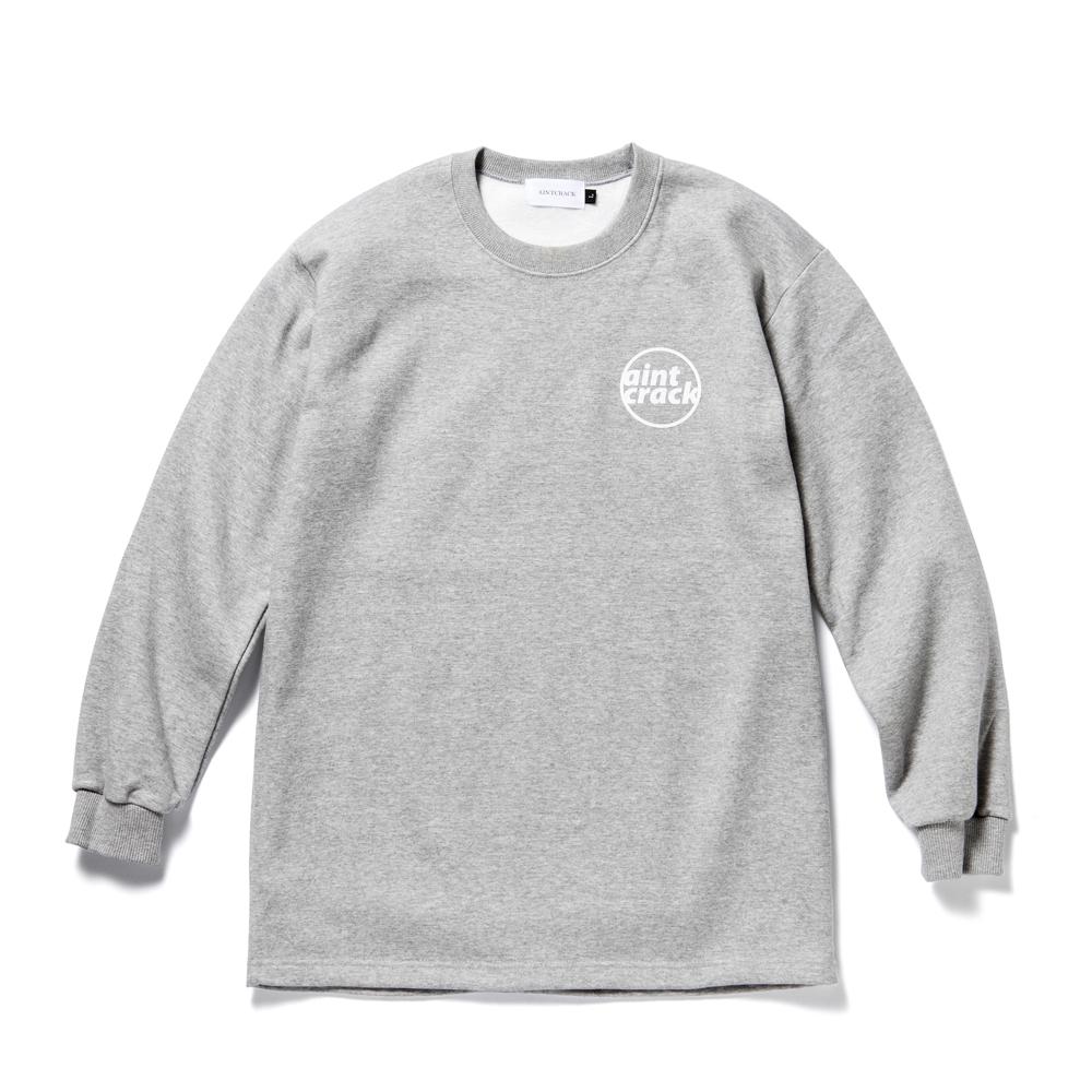 에인트크랙 로고 기모 롱슬리브 티셔츠 그레이
