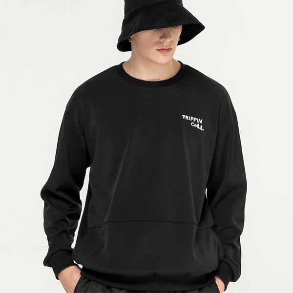 포켓 주머니 기모 맨투맨 스웨트 티셔츠 블랙