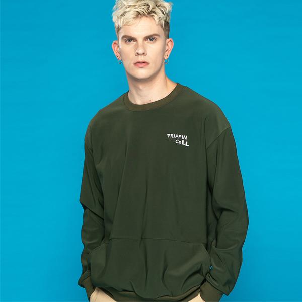 포켓 주머니 기모 맨투맨 티셔츠 스웨트 카키