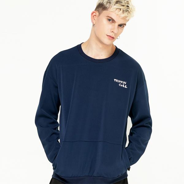포켓 주머니 기모 맨투맨 티셔츠 스웨트 네이비