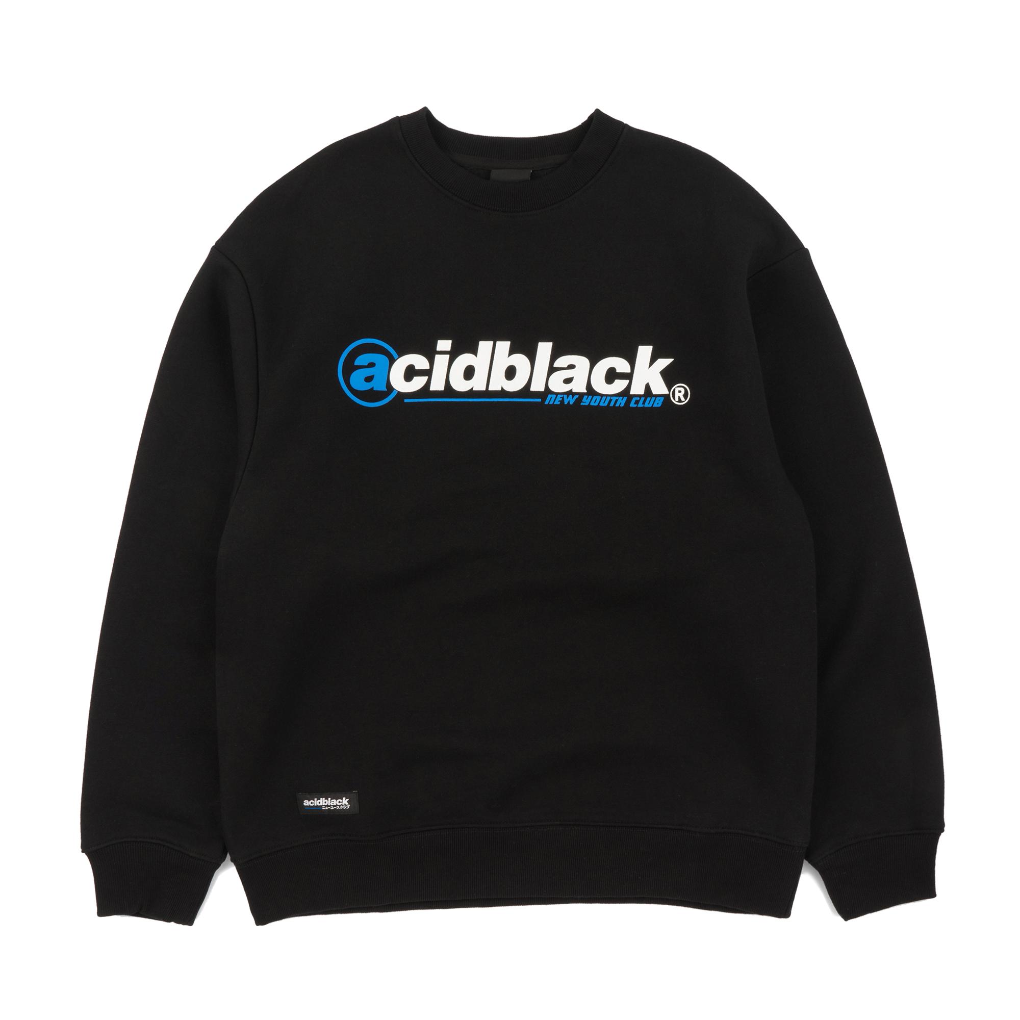 [에시드블랙] A POINT LOGO MTM (BLACK) 기모 맨투맨 크루넥 스웨트셔츠